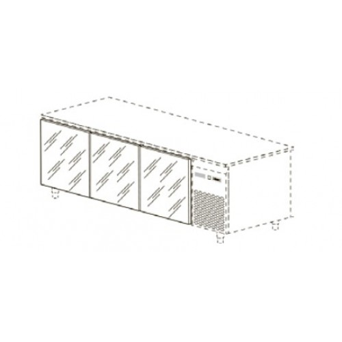 Стеклянные двери для столов глубиной 60/70 см, 3 шт